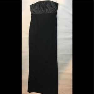 Love21 black leather top bustier maxi dress